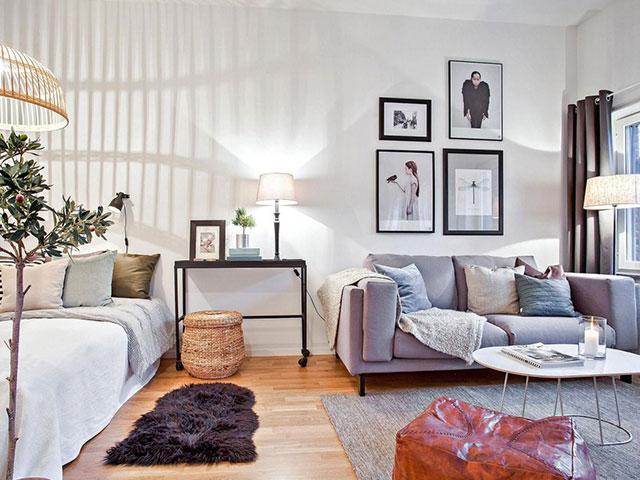 mẫu phòng ngủ kết hợp phòng khách