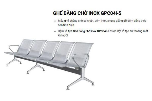 Ghế băng Inox 5 chỗ GPC04I-5