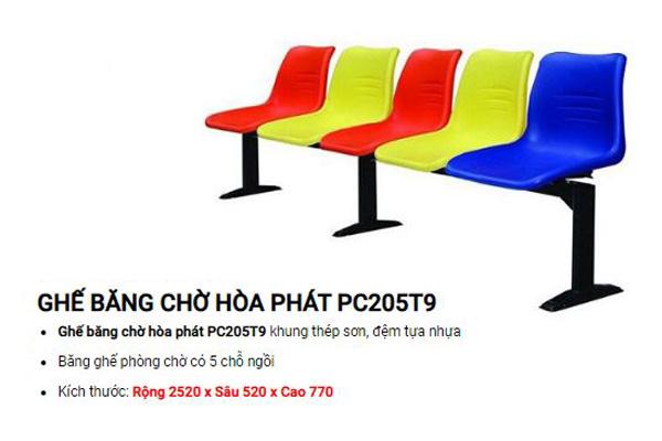 Ghế băng nhựa chân sắt PC205T9